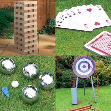 Multi Pack 523 - Wooden Blocks, Playing Cards, Boules and Archery