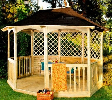 Wooden Gazebo 12 - Octagonal, Pressure Treated, Felt Tiles