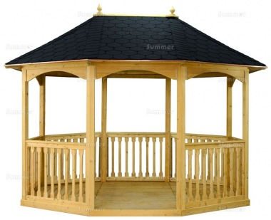 Wooden Gazebo 16 - Octagonal, Pressure Treated, Felt Tiles