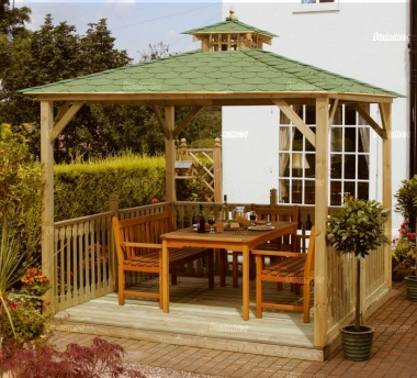 Wooden Gazebo 17 - Hipped, Pressure Treated, Felt Tiles