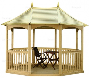 Wooden Gazebo 19 - Octagonal, Pressure Treated, Slatted Roof