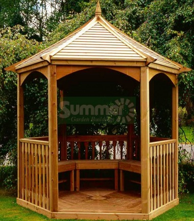 Wooden Gazebo 20 - Hexagonal, Pressure Treated, Slatted Roof