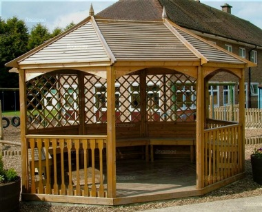Wooden Gazebo 23 - Octagonal, Pressure Treated, Slatted Roof