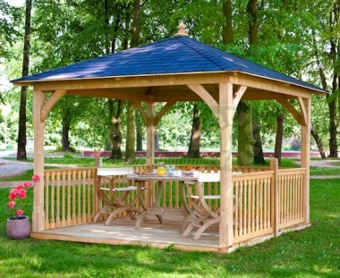 Wooden Gazebo 29 - Hipped, Pressure Treated, Felt Tiles
