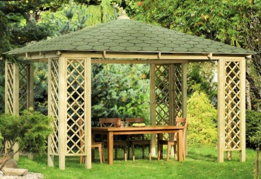 Wooden Gazebo 38 - Hipped, Pressure Treated, Felt Tiles