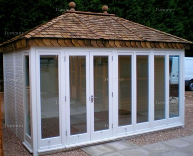 Hipped Roof Garden Office 821 - Painted, Double Glazed and Insulated