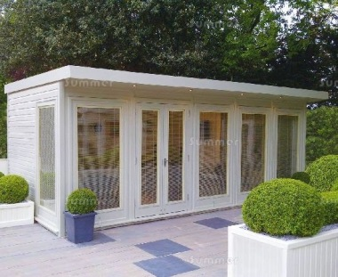 Pent Garden Office 834 - Painted, Large Panes, Double Glazed