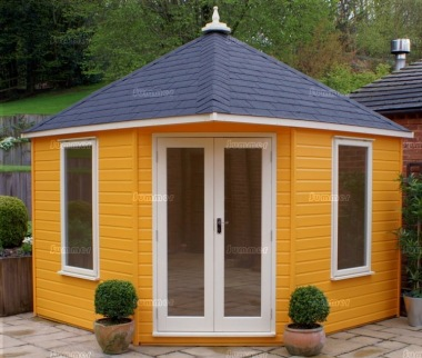 Corner summerhouse 409 painted double glazed insulated for Corner garden office