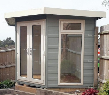 Image of: Summer House Office On Corner Summerhouse 412 Painted Double Glazed Insulated