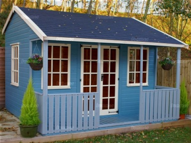 Summer houses greenhouses garden sheds and log cabins for Garden office with side shed
