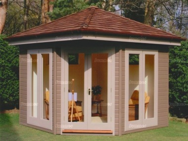 Corner office 78 double glazed lined and insulated for Corner garden rooms uk