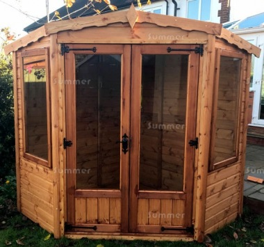 Corner Summerhouse 143 - Large Panes, Double Door