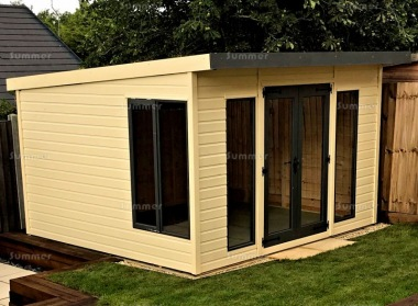 Pent Summerhouse 155 - Painted, Large Panes