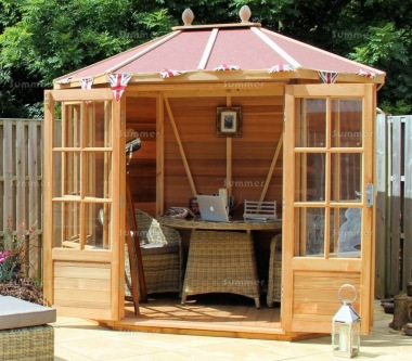Cedar Octagonal Summerhouse 742 - Georgian, Toughened Glass