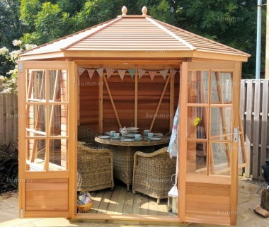Cedar Octagonal Summerhouse 744 - Georgian, Toughened Glass