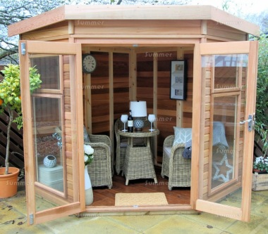 Cedar Corner Summerhouse 748 - Low Level Glazing, Toughened Glass