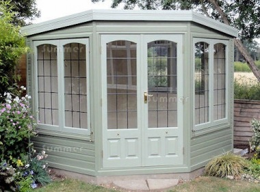 Corner Summerhouse 516 - Cedar, Painted, Leaded Glass