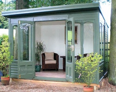 Pent Summerhouse 518 - Cedar, Painted