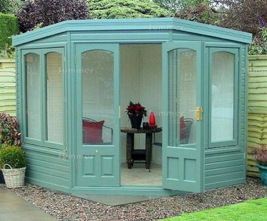 Corner Summerhouse 604 - Cedar, Painted, Large Panes