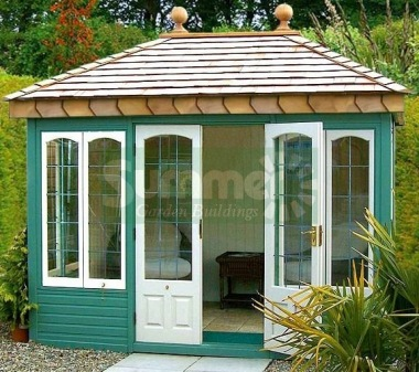 Hipped Summerhouse 607 - Cedar, Painted, Leaded Glass