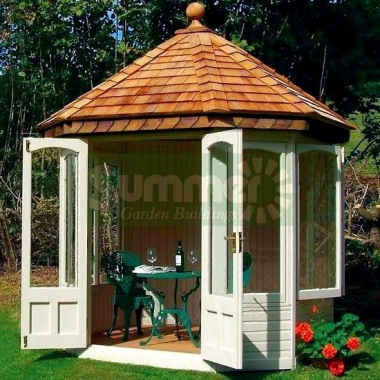 Octagonal Summerhouse 632 - Cedar, Painted, Large Panes