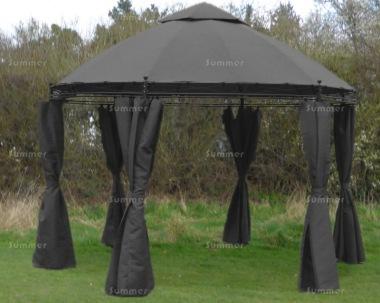 metal gazebo 183 round side curtains. Black Bedroom Furniture Sets. Home Design Ideas