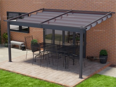 Lean To Gazebo 160 - Powder Coated Aluminium, Retractable Canopy