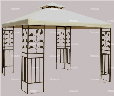 Metal Gazebo 140 - Hipped Roof, Leaf Motif