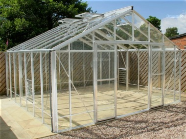 Large Aluminium Greenhouse 606 - Box Section, Toughened Glass