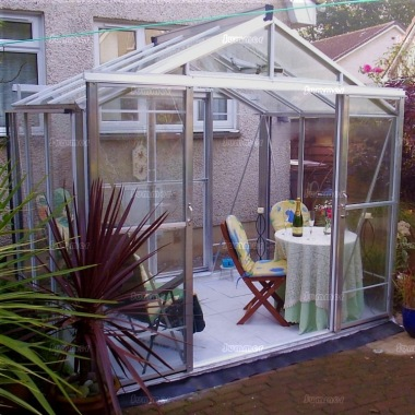 Grey Aluminium Greenhouse 612 - Toughened Glass, Double Door