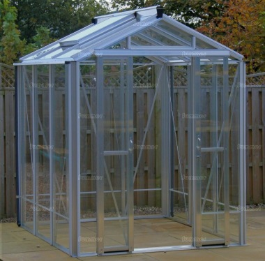 Grey Aluminium Greenhouse 618 - Toughened Glass, Double Door