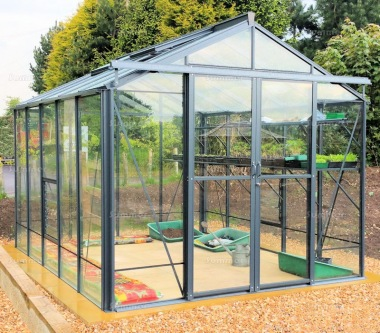 Aluminium Greenhouse 62 - Toughened Glass, Double Door