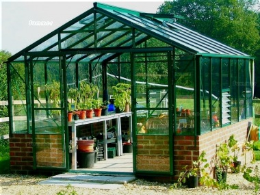 Large Dwarf Wall Aluminium Greenhouse 66 - Double Door