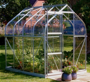 Aluminium Greenhouse 137 - Silver, Curved Eaves