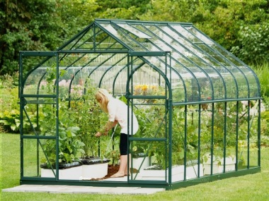 Aluminium Greenhouse 148 - Green, Curved Eaves
