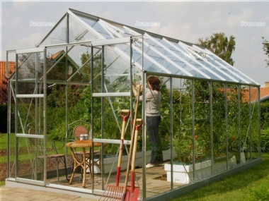 Grey Aluminium Greenhouse 157 - Extra Tall High Eaves