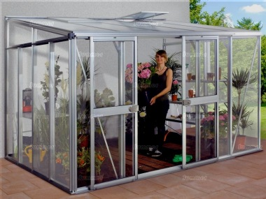 Aluminium Lean To Greenhouse 169 - Double Door, Polycarbonate Roof