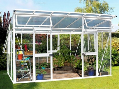 Aluminium Greenhouse 194 - White, Polycarbonate Roof