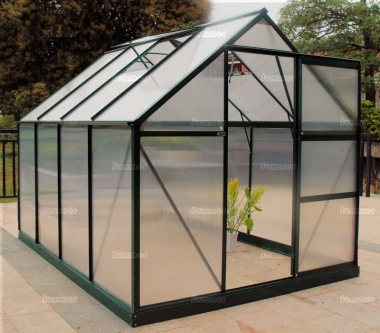 Aluminium Greenhouse 017 - Green, Polycarbonate, Free Base