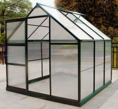 Aluminium Greenhouse 080 - Green, Polycarbonate, Base Included