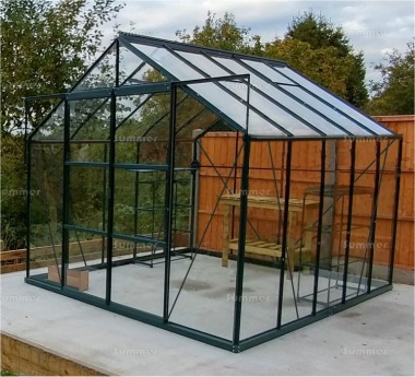Aluminium Greenhouse 032 - Green, Toughened Glass, Base Included