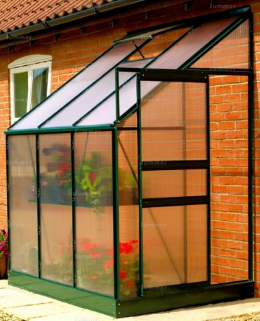 Aluminium Lean To Greenhouse 045 - Green, 6mm Polycarbonate