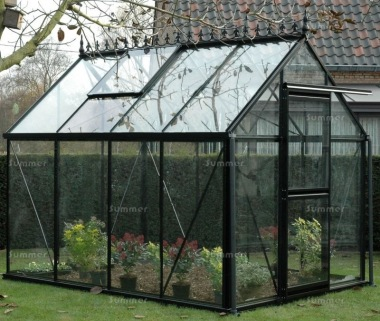 Aluminium Greenhouse 59 - Black Finish, Toughened Glass