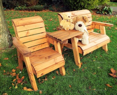 Kids Bench Set 746 - Bench, Armchair, Square Tray