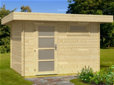 Single Door 28mm Pent Roof Log Cabin 312