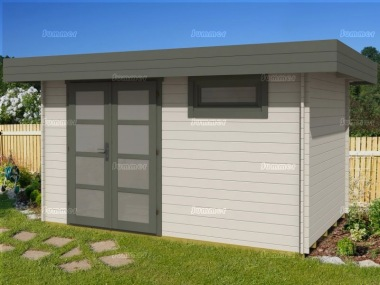 Pent Roof 28mm Log Cabin 314 - Double Door