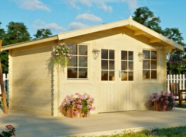 Apex Double Door 28mm Log Cabin 339 - Plain or Georgian
