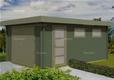 Wooden Pent Log Garage 437 - 40mm Logs, Personnel Door