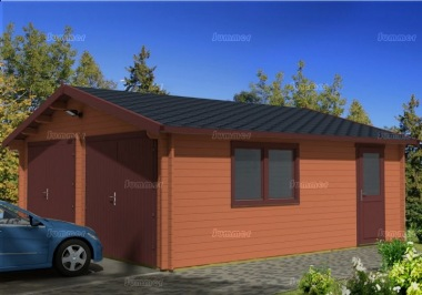 Wooden 40mm Log Garage 438 - Apex, Personnel Door