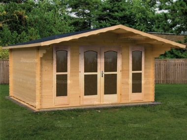 Apex Double Door 40mm Log Cabin 451 - Sidelight Windows